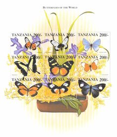 Tanzania - Butterflies Of The World , 1999 - Sc 1788 Sheetlet of 9 MNH