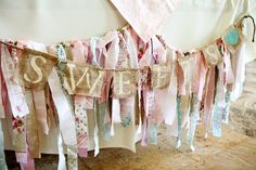 Fabric Banner  Shabby Chic Garland Photo Prop by apetitesoiree