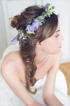 Messy braid wedding hair with floral crown. Captured By: Margherita Calati http://www.weddingchicks.com/2014/06/12/start-your-wedding-day-off-in-the-sweetest-way-possible/