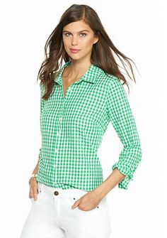 crown & ivy™ Gingham Button Down Shirt Button Downs, Button Down Shirt, French Summer, Ribbon Shirt, Green Shirt, Green Tops, Color Stripes, Two Pieces, Printed Shirts