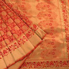 Ghanshyam Sarode Handwoven Cinnabar Red Monochrome Kanchipuram Silk Saree with Floral Motifs  10002472 - AVISHYA