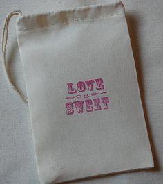 10 Vintage Love is Sweet Organic Muslin Favor by JennifersCookies, $12.00