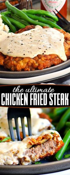 The Ultimate Chicken Fried Steak is fried to golden perfection and topped with . - The Ultimate Chicken Fried Steak is fried to golden perfection and topped with the creamiest gravy - Rinder Steak, Chicken Steak, Steak Fajitas, Marinade Steak, Steak Meals, Steak Soup, Beef Steaks, Ranch Chicken, Crispy Chicken