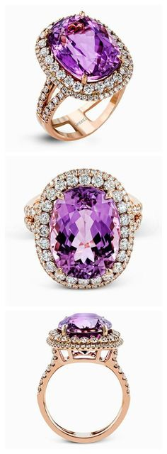 Rose Gold Engagement Ring with a touch of Purple by @Simon G. / http://www.himisspuff.com/engagement-rings-wedding-rings/37/