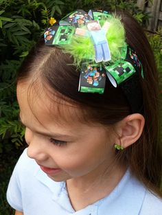 Hey, I found this really awesome Etsy listing at https://www.etsy.com/listing/229222818/minecraft-glitter-headband-or-bow-ready
