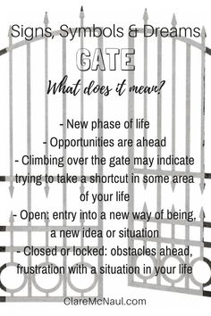 Is your gate open or closed? Are you stepping into a new phase of your life? Potentially interesting times ahead when gate shows up in your dreams, life and / or psychic & mediumship readings. Dream Interpretation Symbols, Lucid Dreaming Tips, Dream Psychology, Facts About Dreams, Dream Symbols, Dream Meanings, Tarot Card Meanings, Philosophy Quotes, Psychic Readings