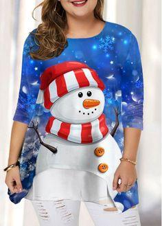 Plus Size Long Sleeve Christmas Snowman Print T Shirt Plus Size Fall Outfit, Plus Size Outfits, Plus Size T Shirts, Plus Size Tops, Plus Size Womens Clothing, Plus Size Fashion, Blue Color Schemes, Color Blue, Shirt Sale
