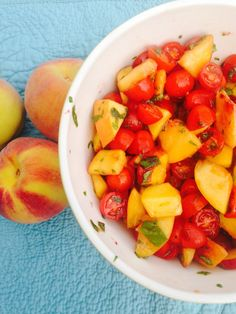 Sweet Peas 'N Chickadees| Our Kitchen: Cooking with Herbs // Tomato-Peach Salad