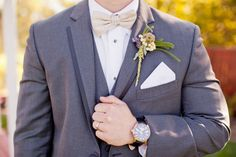 vintage groom, gold bowtie, lavender and mint boutonniere, Fossil watch, Vera Wang tux in charcoal --- photgraphy - Studio Dizon