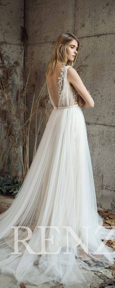 Wedding Dress Off White Tulle Dress,V Neck Bridal Dress,Lace Illusion Backless Bride Dress Train Maxi Dress,Sleeveless Evening Dress(LW192)