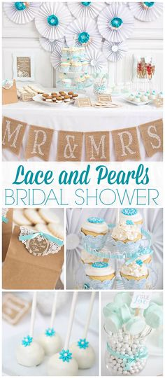 Such a stunning bridal shower! It has a lace and pearls theme! See more party ideas at CatchMyParty.com!