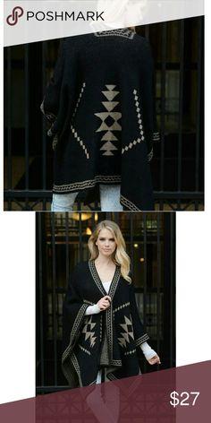 """Diamond Knit Ruana Poncho  ?Black Diamond Knit Ruana  100% Acrylic Dimension 55""""x41"""" Accessories Scarves & Wraps"""
