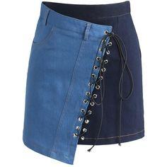 Chicwish At Ease Bi-color Denim Bud Skirt (130 BRL) ❤ liked on Polyvore featuring skirts, bottoms, юбки, blue, colored denim skirts, denim skirt, knee length denim skirt, asymmetrical skirt and blue denim skirt