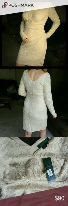 BNWT Ralph Lauren Stunning  Lace & Sequin Dress Beautifully made stunning designer creamy color or antique off white stretch lace & sequin special occasion dress. Picture does not adequately show the beauty of this dress. Just above knee or at knee depending on height. Ralph Lauren designer original and well made. I have one myself. The color in the bottom pics may appear more white than the actual dress due to the light hitting the sequins. Ralph Lauren Dresses Wedding