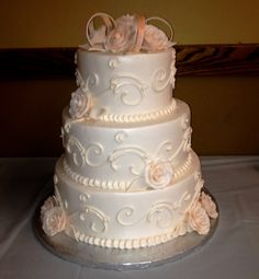 Calumet Bakery Ivory on Ivory detailing Wedding Cake Simple Yet Elegant