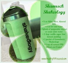 Happy St. Patrick's Day - Shamrock Shakeology Recipe Healthy Greenberry Shakeology www.HealthyFitFocused.com