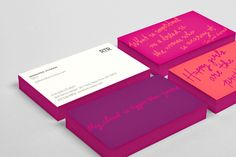 RTR bright girly business cards with handwritten script