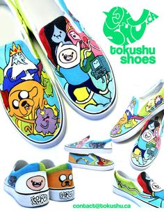 On the sides - Lady Rainicorn, Finn's arm with sword, Adventure Time logo, and some cool peeps from Candy Kingdom GET CHUR OW. Dream Shoes, Crazy Shoes, Adventure Time Shoes, Vans Shoes Fashion, Old Cartoon Network, Custom Vans Shoes, Keds Sneakers, Cartoon Tv Shows, Decorated Shoes