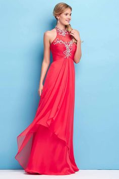 2015 Halter Pleated Bodice A-Line Prom Dresses With Beads USD 129.99 VUP1GF4C4T - VoguePromDressesUK