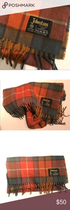 Johnstons of Elgin Lambswool Plaid Scarf Scotland GUC - made in Scotland - Plaid - fringed ends Johnstons of Elgin Accessories Scarves & Wraps