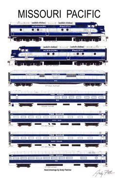"""An 11""""x17"""" poster with some of Andy Fletcher's hand drawings of Missouri Pacific locomotives and passenger cars."""