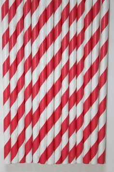 100 red stripe straws paper straws birthday party by PartyDelights, $16.00