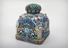FABERGÉ~ Silver and Enamel Cloisonne Tea Caddy, by Feodor Rukart, Saint Petersburg, 1896-1908.