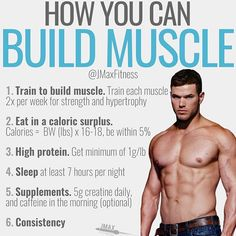HOW YOU CAN BUILD MUSCLE by @jmaxfitness - Save this post RIGHT NOW. This will be your muscle building plan for 2018. - Here's how you can build muscle: - Lift heavy in the gym train each body part 2x per week and try to hit PR's. - Eat in a Caloric surplus. You can want gain 2-4lbs on the scale per month so if the scale isn't going up eat more. - Eat high protein and aim to get 1g/lb/day. If you're 200lbs that's 200g of protein per day. - Sleep AT LEAST 7 hours per night. - Supplement with…
