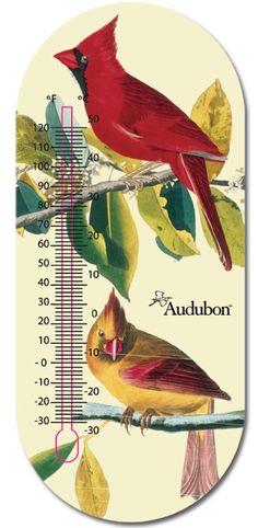 Audubon 8 inch Thermometer Cardinals, Clocks, Gadgets, Classy, Inspire, Weather, Bird, Retro, Garden