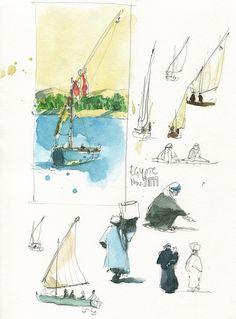 sketching nile boats