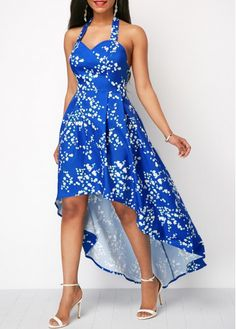 Halter High Low Printed Blue Dress | liligal.com - USD $35.37
