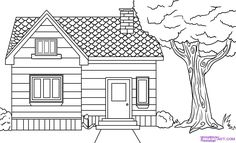 How to Draw a House, Step by Step, Buildings, Landmarks & Places ...