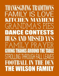 FULLY CUSTOM FAMILY WORD ART, Thanksgiving Traditions Fall Decor by #PaperPlanePrints on Etsy, $32.00