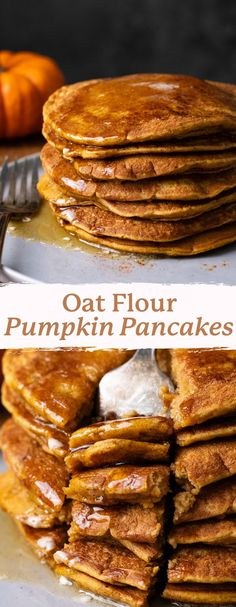 Learn how to make healthy pumpkin spice pancakes with oat flour! These gluten-free pancakes are filled with fall flavors, warm spices, and perfectly sweet flavor. Serve as the perfect fall breakfast or brunch! | asimplepalate.com Pumpkin Spice Pancakes, Oat Pancakes, Gluten Free Pancakes, Pumpkin Puree, Oat Flour Recipes, Baking Recipes, Fall Breakfast, Breakfast Bowls, Healthy Pumpkin