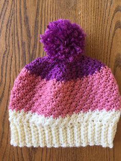 "Skein and Hook: Free Crochet Pattern: Greene Pom Pom Hat Toddler/Preschooler= 17-19"" head circumference Child= 20-21"" head circumference"
