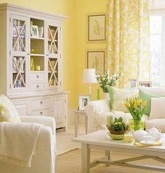 Appealing Why Should I Paint My Yellow Living Room ?: Cool Yellow Living Room With A Lot Of Furniture And Decoration And The Bright Sun Also Butter Yellow Colored With Gold Tones And Red Couch Also Color Yellow Wall ~ vitmol Living Room Paint, Home Living Room, Living Room Designs, Living Room Decor, Bedroom Decor, Master Bedroom, Wall Decor, Yellow Curtains, Floral Curtains