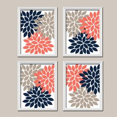 Coral Navy Beige Wall Art Canvas Artwork Flower by TRMdesign, $38.00
