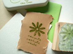 Recycle Restyle Reuse Olive Wood Stamp by ahueofduckeggblue, $8.50