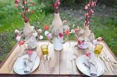 place setting with paper flower - Google Search