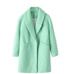 Chicnova Fashion Pure Color Long Sleeves Overcoat (85 AUD) ❤ liked on Polyvore featuring outerwear, coats, jackets, coats & jackets, верхняя одежда, over coat, green coat and long sleeve coat