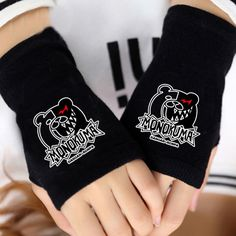 Anime Danganronpa WB Bear Cosplay Cotton Knitted Gloves Fingerless Mitten Winter #Unbranded
