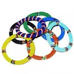 Vintage African Beaded Handmade Bangles Bracelets Set / Colorblocked Striped