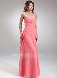 A-Line/Princess Strapless Floor-Length Chiffon Bridesmaid Dress With Ruffle Flower(s) (007001081)