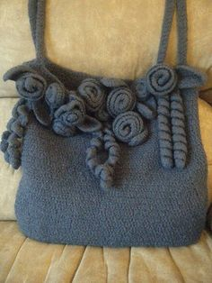 Felted purse with flowers