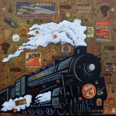 """Night Train"" Transportation Vintage Wall Art by Max Grover for Oopsy Daisy, Fine Art for Kids size 18x18 $99"