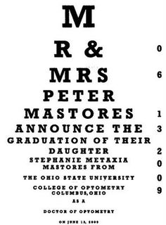 amazing graduation invitations for optometry school (maybe a translation is in order for our computer science kid T. Bruess?)