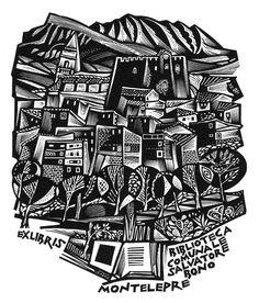 Tranquillo Marangoni, ex libris per Biblioteca Comunale Salvatore Bono, Montelepre