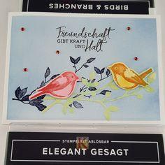 Das Stempelset Birds & Branches und das Stempelset Elegant gesagt aus dem brandneuen Jahreskatalog harmonieren perfekt miteinander. Mit der Verblendungstechnik kannst Du einen tollen Effekt erzielen, den ich Euch in der ausführlichen Schritt-für-Schritt-Anleitung auf meiner Webseite beschreibe. Die oder der Beschenkte wird verpüfft sein. Viel Spaß beim Nachbasteln! Elegant, Website, Friendship, Tutorials, Projects, Cards, Creative, Classy, Chic