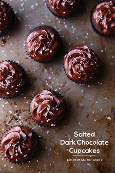 Salted Dark Chocolate Cupcakes   gimmesomeoven.com