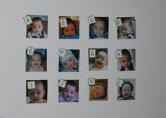 """For child's first birthday """"Guess Peanut's Age"""" game - guess the age they were at in each pic (by month)"""